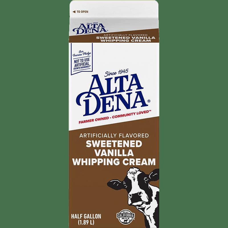 Sweetened Vanilla Whipping Cream Paper Half Gallon